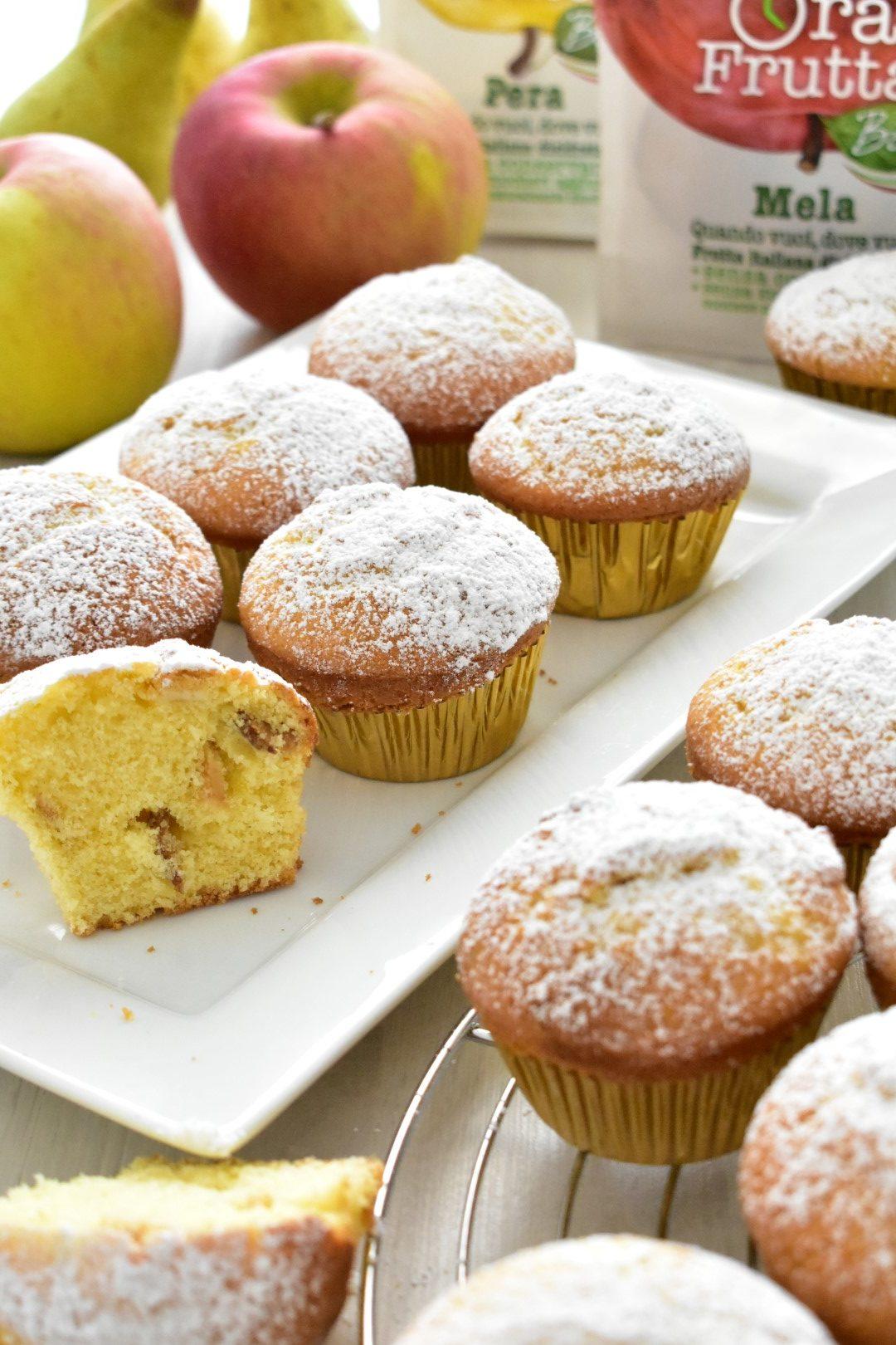 Ricetta Muffins alle mele e pere disidratate